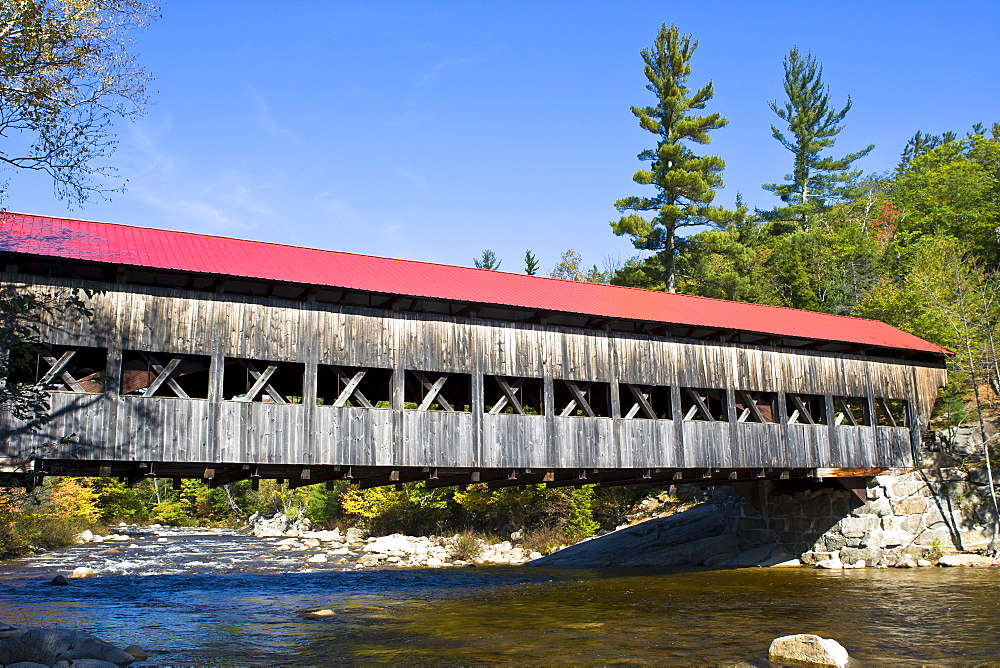 Albany Bridge, a covered wooden bridge on the Swift River, New Hampshire, New England, USA
