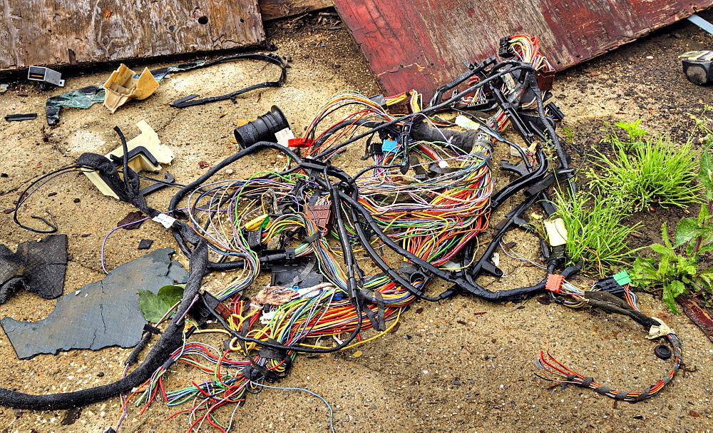 Cables, destruction, abandoned factory