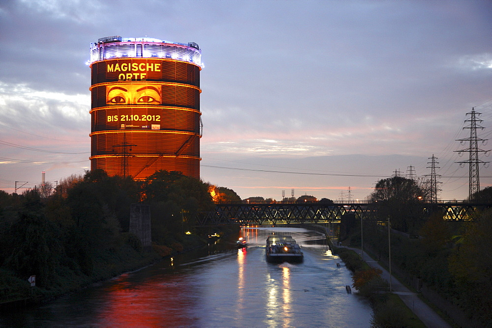 Gasometer with the exhibition Magische Orte, Magical Places, on the Rhine-Herne Canal, Oberhausen, Ruhr Area, North Rhine-Westphalia, Germany, Europe