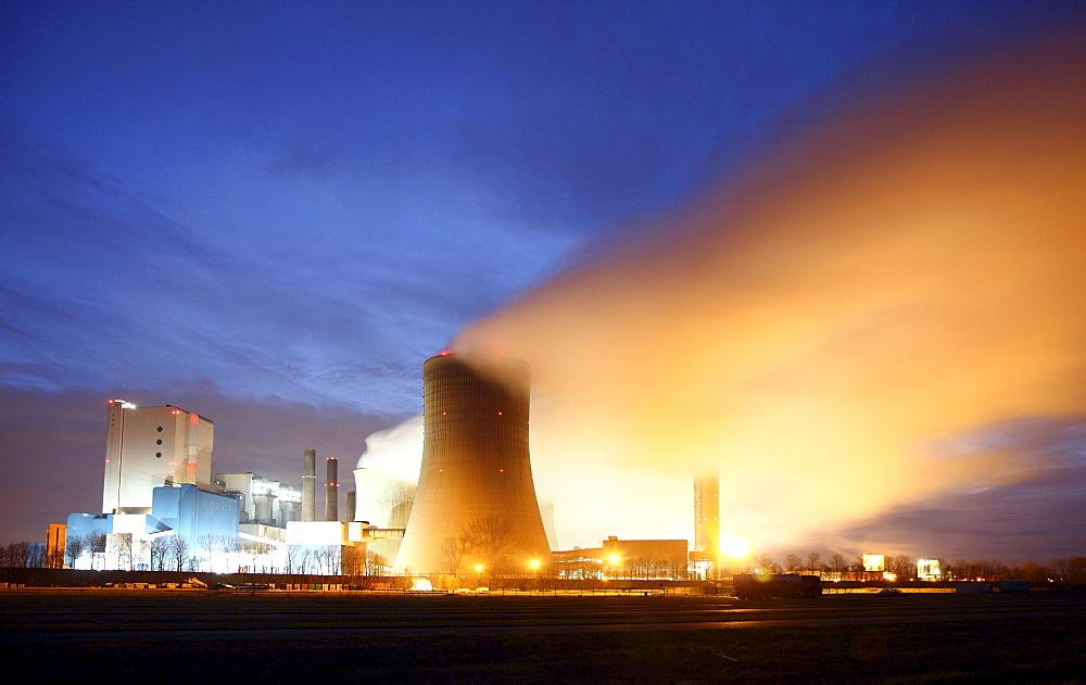 Niederaussem Power Station, a lignite-fired power station owned by RWE Power AG, the most powerful power plant in Germany, Bergheim-Niederaussem, Rhein-Erft-Kreis district, North Rhine-Westphalia, Germany, Europe