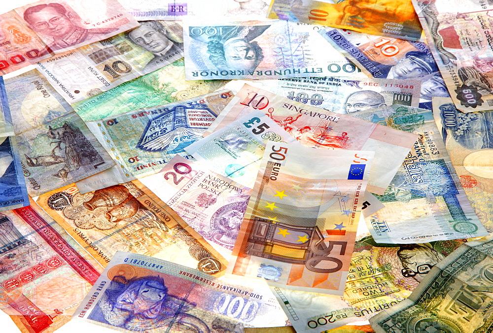 Banknotes, different currencies from around the world, foreign exchange