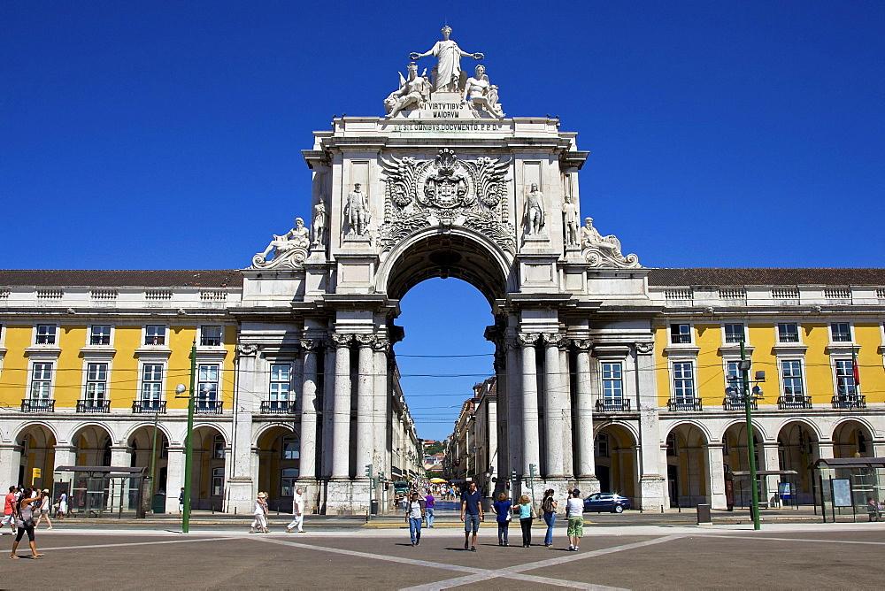 Arco da Rua Augusta, Praca, Praca, Praca do Comercio, Baixa, Lisbon, Portugal, Europe