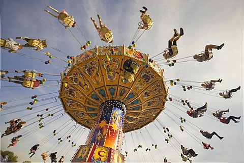 Chair swing ride or Chair-O-Planes, Oktoberfest, Munich, Bavaria, Germany, Europe - 832-43212