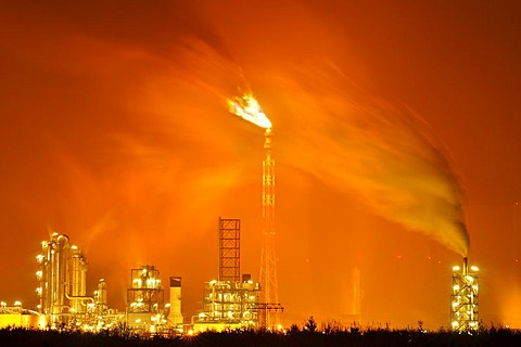 A chemical plant in Leipzig at night, Saxony, Germany, Europe - 832-43346