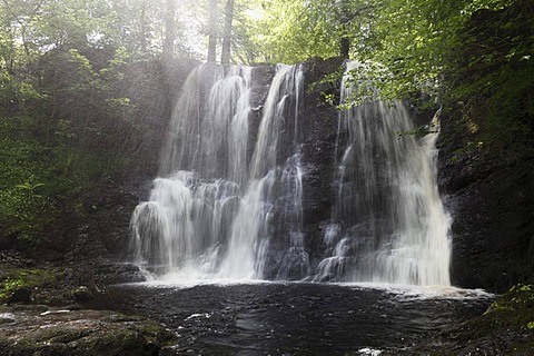 Waterfall in the Inver river, Glenariff Forest Park, Glenariff, Glens of Antrim, County Antrim, Northern Ireland, United Kingdom, Europe