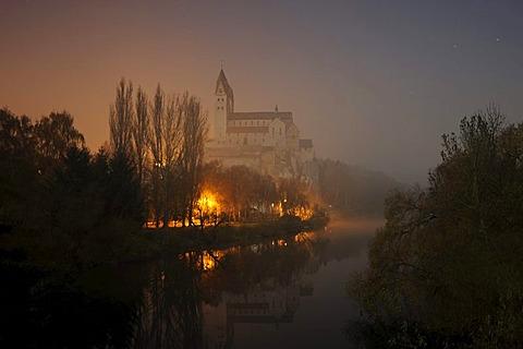 View towards the Collegiate Church, Limburg-Dietkirchen, Hesse, Germany, Europe