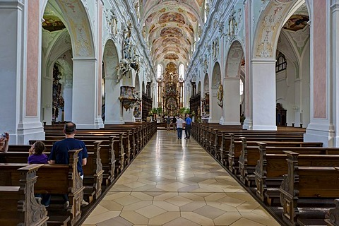 Interior view, monastery church of St. Georg, Kloster Ochsenhausen Monastery, Ochsenhausen, Biberach district, Upper Swabia, Baden-Wuerttemberg, Germany, Europe