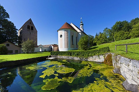Monastery church with gatehouse, Kloster Wessobrunn Abbey, Pfaffenwinkel, Upper Bavaria, Bavaria, Germany, Europe