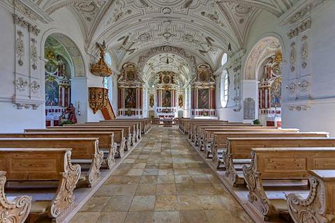 Interior view, Pilgrimage Church of the Visitation, Steingaden, Upper Bavaria, Bavaria, Germany, Europe