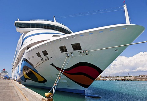 Brightly painted cruise ship, AIDA, in the port of Civitavecchia, Rome, Italy, Europe