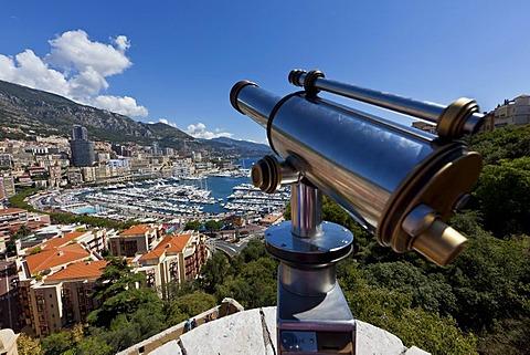 Overlooking the harbour of Monaco, Port Hercule, Monte Carlo, principality of Monaco, Cote d'Azur, Mediterranean, Europe, PublicGround