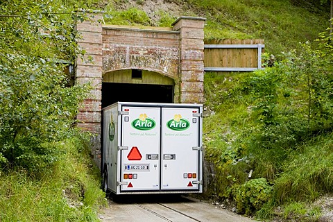 Cheese transporter passing narrow tunnel to the Monsted, Monsted limestone caves near Viborg, Jutland, Denmark, Europe