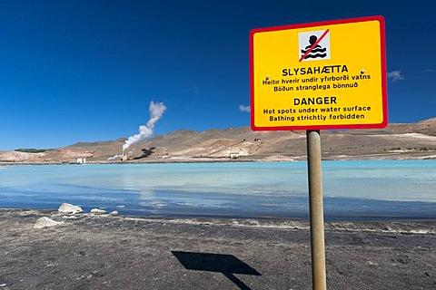 Warning sign, energy generation, geothermal area, lake M˝vatn, northern Iceland, Europe - 832-45368