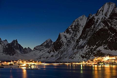 Winter mood, Reine, Lofoten Island of Moskenesoya, Lofoten Islands, North Norway, Norway, Europe