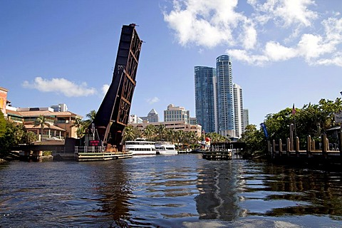 New River with bascule bridge and skyline of Fort Lauderdale, Florida, USA
