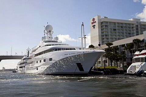 Luxury yacht Pegasus moored in front of the Hilton Hotel in Fort Lauderdale, Florida, USA