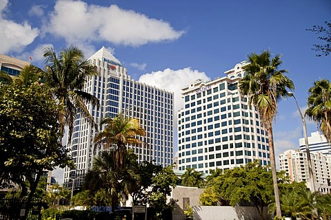 Bank of America and Suntrust skyscrapers in Fort Lauderdale, Florida, USA