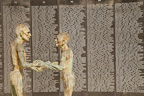 Names of Holocaust victims on a granite wall, The Holocaust Memorial Miami Beach, Miami, Florida, USA