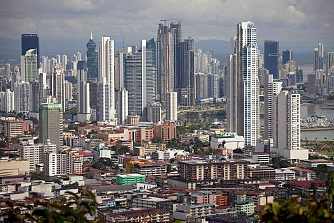 Cityscape and skyline of Panama City, seen from Cerro Ancon Mountain, Panama, Central America