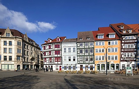 Commercial buildings in Domplatz square, Erfurt, Thuringia, Germany, Europe, PublicGround