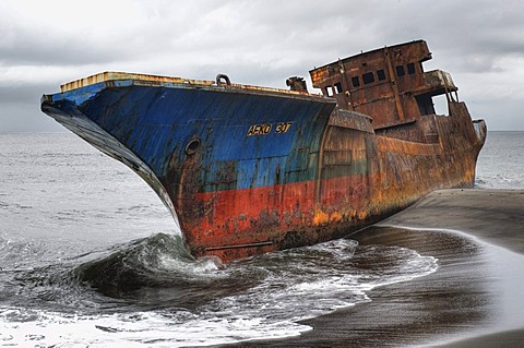 Stranded cargo ship, near Limbe, Cameroon, Africa