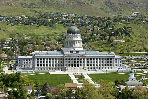 Utah State Capitol on Capitol Hill, the building houses the chambers of the Utah State Legislature, the Office of the Governor and Vice Governor of Utah, Salt Lake City, Utah, USA