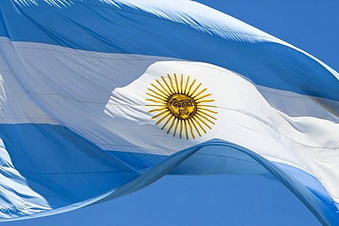 Argentine flag waving at the presidential palace in Buenos Aires, Argentina, South America