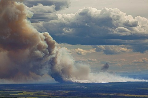 Forest fire following a lightning strike near Fairbanks, Alaska, USA