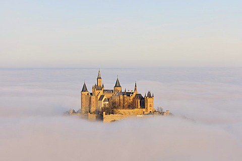 Burg Hohenzollern Castle with fog, autumn, Hechingen, Swabian Alb, Baden-Wuerttemberg, Germany, Europe