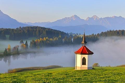 Chapel at Hegratsrieder See, lake, near Fuessen, Allgaeu, Bavaria, Germany, Europe
