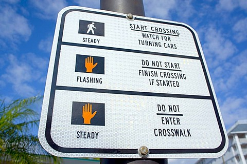 Sign at pedestrian traffic lights, Florida, United States, USA