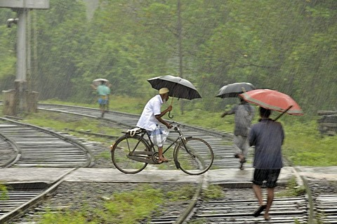 Cyclists and pedestrians in heavy rain, railway crossing in Kalawewa, Sri Lanka, Ceylon, South Asia, Asia, PublicGround