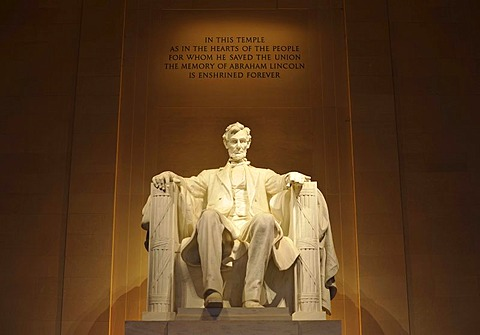 Statue of Abraham Lincoln by Daniel Chester French, inscription, Lincoln Memorial, Washington DC, District of Columbia, USA, PublicGround