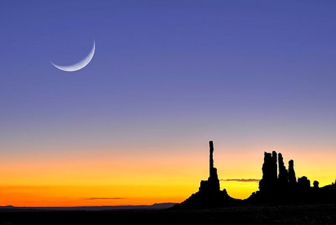 Totem Pole and Yei Bi Chei rock formations, silhouetted before sunrise, dawn, moon, Monument Valley Navajo Tribal Park, Navajo Nation Reservation, Arizona, Utah, United States of America, composite image