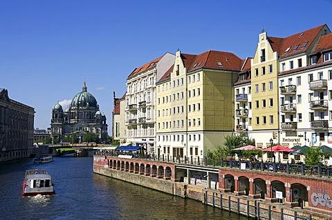 Nikolai quarter, Spree riverfront, Berlin Cathedral, Mitte quarter, Berlin, Germany, Europe
