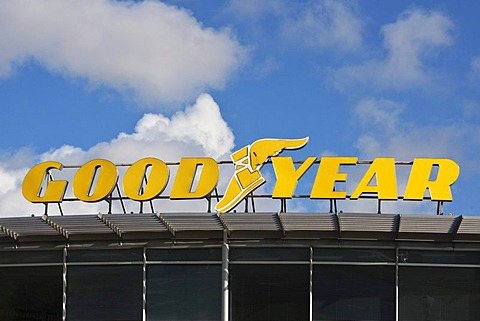 Signage, logo of Goodyear, an American tyre manufacturer, Riga, Latvia, Europe