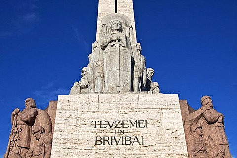 Freedom monument, Br&v&bas piemineklis in Latvian, called Milda, 1935, Riga, Latvia, Europe