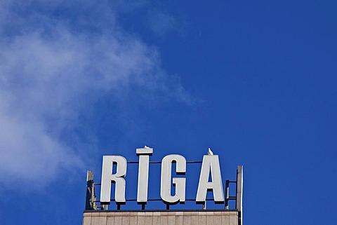 "Lettering ""Riga"", Riga, Latvia, Europe"