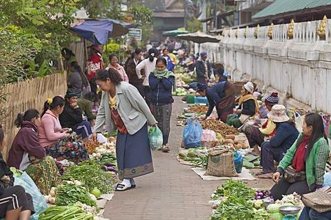 The morning market in Luang Prabang, Laos, Southeast Asia
