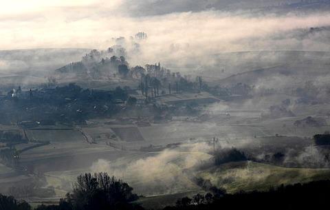 Misty landscape, Limagne, Auvergne, France, Europe