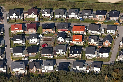 Aerial view, detached houses, one-family houses, Erikastrasse construction area, Hamm, Ruhr Area, North Rhine-Westphalia, Germany, Europe