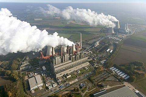 Aerial view, old and new power plants, lignite-fired power plant, RWE-Power, Niederaussem, Rhineland, North Rhine-Westphalia, Germany, Europe