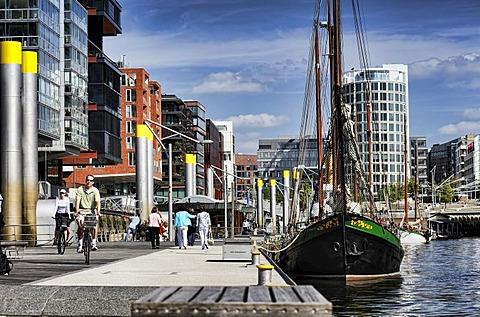 Sandtorhafen harbour in the Hafencity district, Hamburg, Germany, Europe