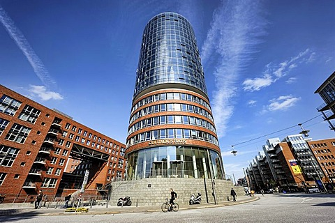Columbus building, Hanseatic Trade Center and Sandtorkai quay in Hamburg, Germany, Europe