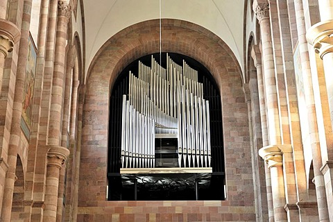 Main organ, Speyer Cathedral, a Unesco World Heritage site, laying of the first stone around 1030, Speyer, Rhineland-Palatinate, Germany, Europe