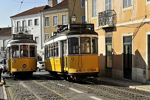 Tram lines 12 and 28 meet at the viewpoint Portas do Sol, Alfama, Lisbon, Lisboa, Portugal, Europe