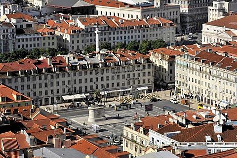 View from Castelo do Sao Jorge overlooking Praca da Figueira square, Lisbon, Lisboa, Portugal, Europe