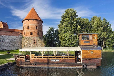 Boat off Trakai Island Castle, Trakai Historical National Park, Lithuania, Europe