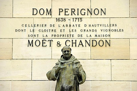 Statue of DomPerignon, Moet & Chandon winery, headquarters, luxury goods group LVMH, Louis Vuitton Moet Hennessy, epernay, Champagne, Marne, France, Europe, PublicGround - 832-52155