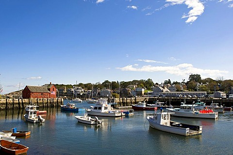 View of the harbor of Rockport, a small fishing village in Massachusetts, New England, USA